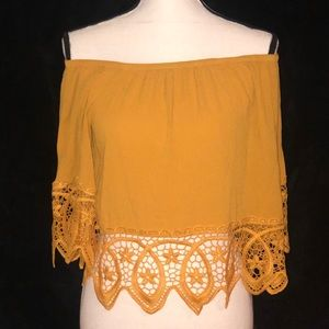 🌞AMBIANCE MUSTARD OFF THE SHOULDER BLOUSE